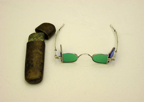 Hyrum Smith's sunglasses and carrying case (from BYU library archives)