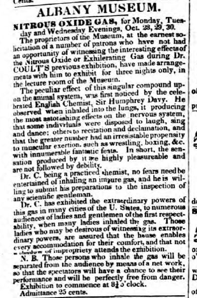 Dr. Coult's laughing gas ad from 1833.