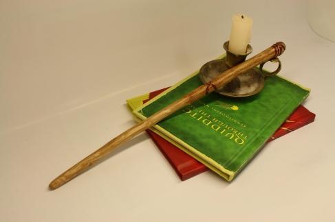 Hand carved oak wand from Hufflepuffery at Etsy.com.