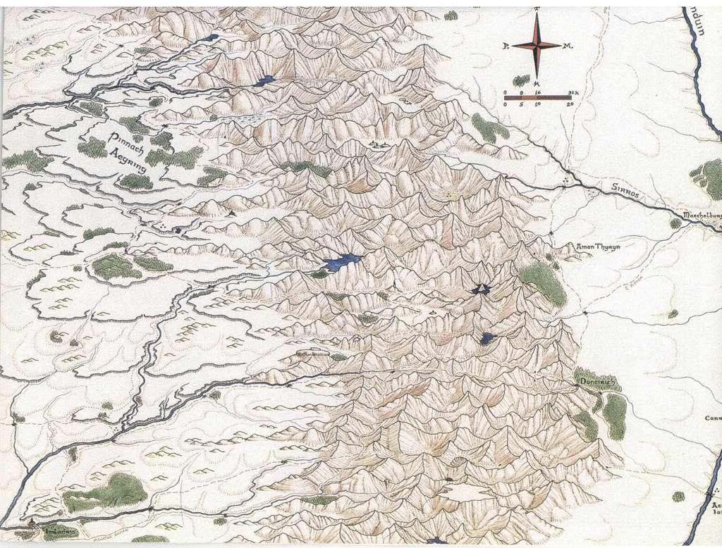 One of the detailed maps made by Peter Fenlon for the Middle-Earth Roleplaying game (aka MERP).