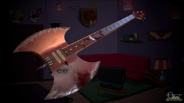 Realistic rendering of Marceline's axe bass from Adventure time. From oubliette.artstation.com.